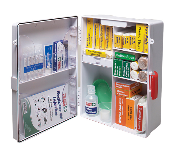 workplace first aid kit open