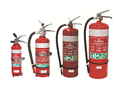 Fire extinguishers for sites and vehicles