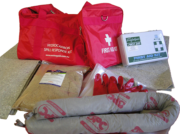Hydrocarbon Spill Response Kit with first aid contents